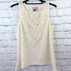 Love On A Hanger Sheer Lace Tank Top - Large